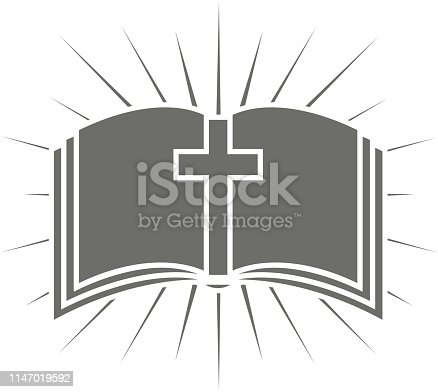 Book cross rays vector illustration