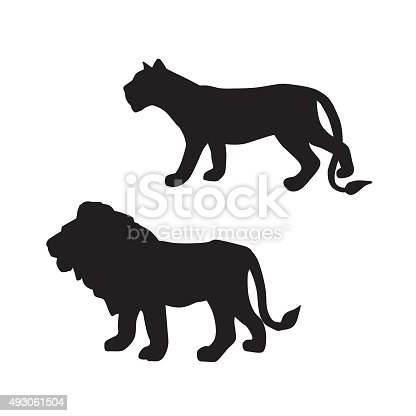 A vector silhouette illustration of a male lion and lioness.
