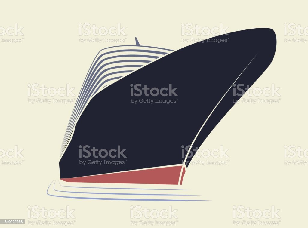 The big nose of a cruise liner. Simple icon ship in the marina. View from the bottom up. vector art illustration