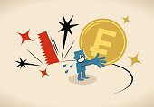 istock The big saw is cutting the ground from under the blue man's feet who is holding a big Swiss Francs currency, recession, devaluation, economic depression, currency crisis 1315066953