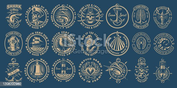 istock The biggest bundle of vintage nautical vectors on the dark background. 1208202980