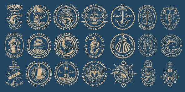 The biggest bundle of vintage nautical vectors on the dark background.