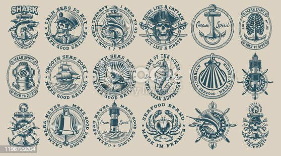 The biggest bundle of vintage nautical vectors on the white background. Perfect for the shirt designs and many other uses. Text is on the separate group.