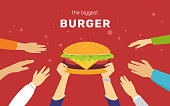 The biggest burger concept vector illustration of happy people want to have tasty burgers for lunch or snack. Flat human hands hold big cheeseburger symbol and other try to take it on red background