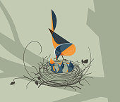 Bird Nest Vector Design Template with Copy Space
