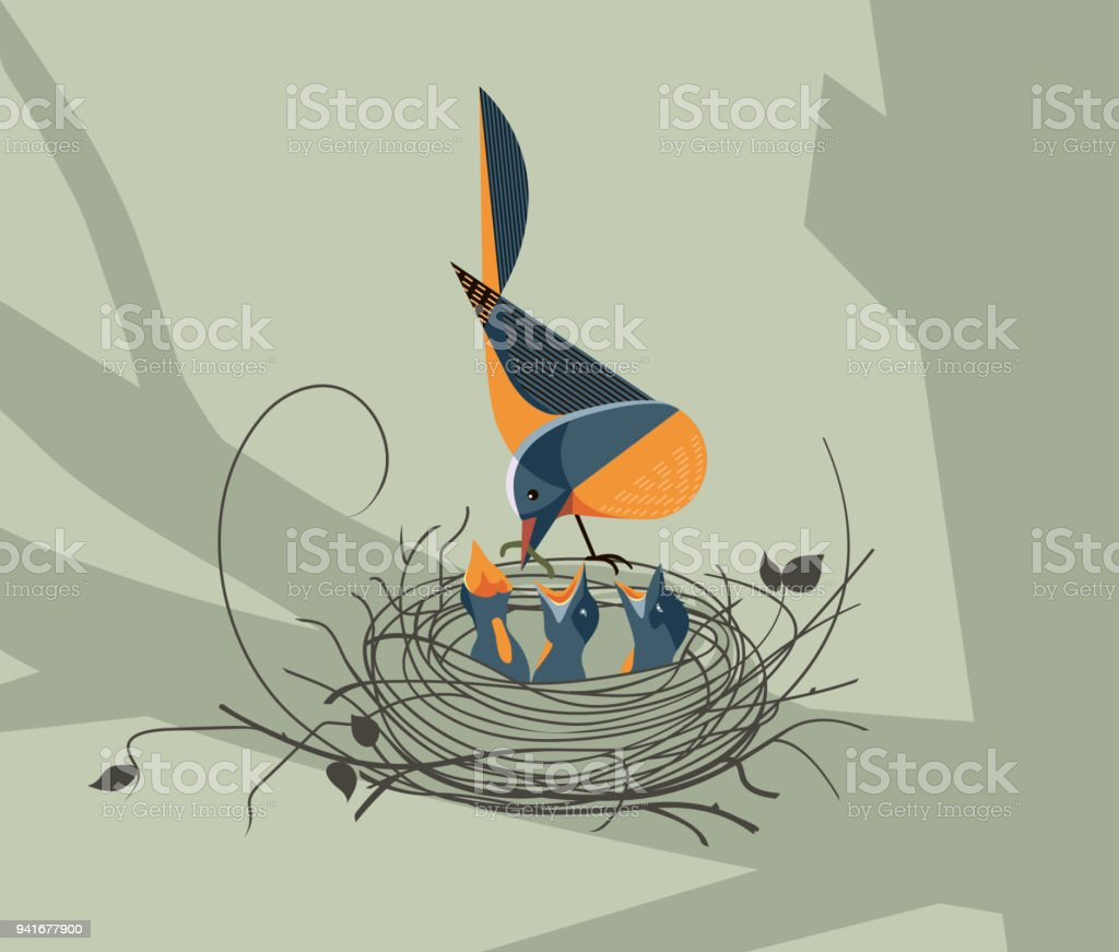 The bird feeds the chicks in the nest vector art illustration