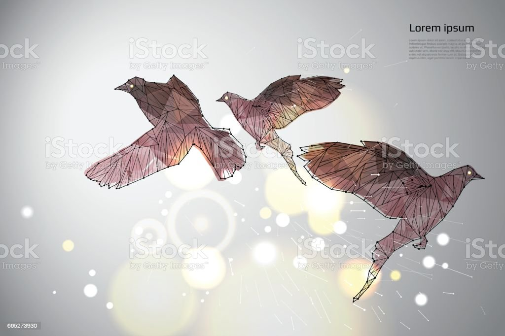 The bird flying with motion and effect. vector art illustration