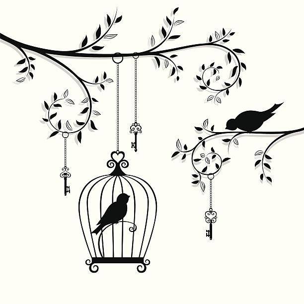 illustrations, cliparts, dessins animés et icônes de l'oiseau dans la cage - dessin cage a oiseaux