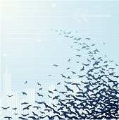 A flock of birds fly through an abstract urban scene. The birds are on a separate layer from the background, so easily used elsewhere. Package includes an AI CS2 file.