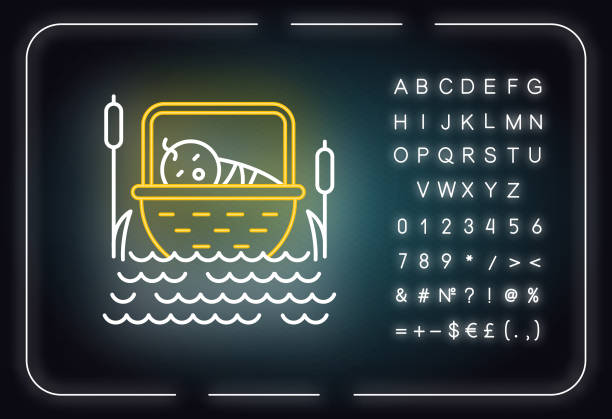 The Birth of Moses Bible story neon light icon. Newborn in basket. Hebrew prophet. Exodus Biblical narrative. Glowing sign with alphabet, numbers and symbols. Vector isolated illustration The Birth of Moses Bible story neon light icon. Newborn in basket. Hebrew prophet. Exodus Biblical narrative. Glowing sign with alphabet, numbers and symbols. Vector isolated illustration moses religious figure stock illustrations