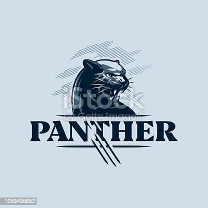 istock The black, aggressive panther bared its teeth. 1253495652