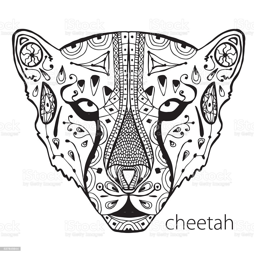 the black and white cheetah print with ethnic patterns stock
