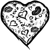 The black and white heart and kisses pattern