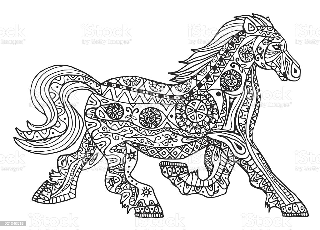 The Black And White Horse Print With Ethnic Patterns Stock Illustration Download Image Now Istock