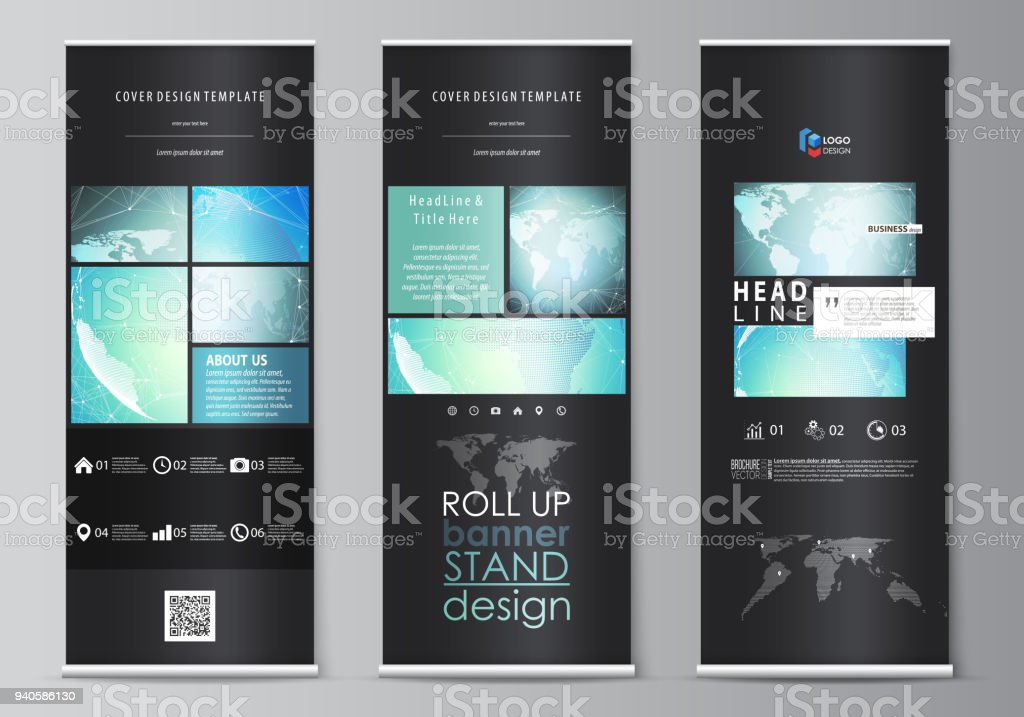 the black colored vector illustration of editable layout of roll up banner stands vertical flyers