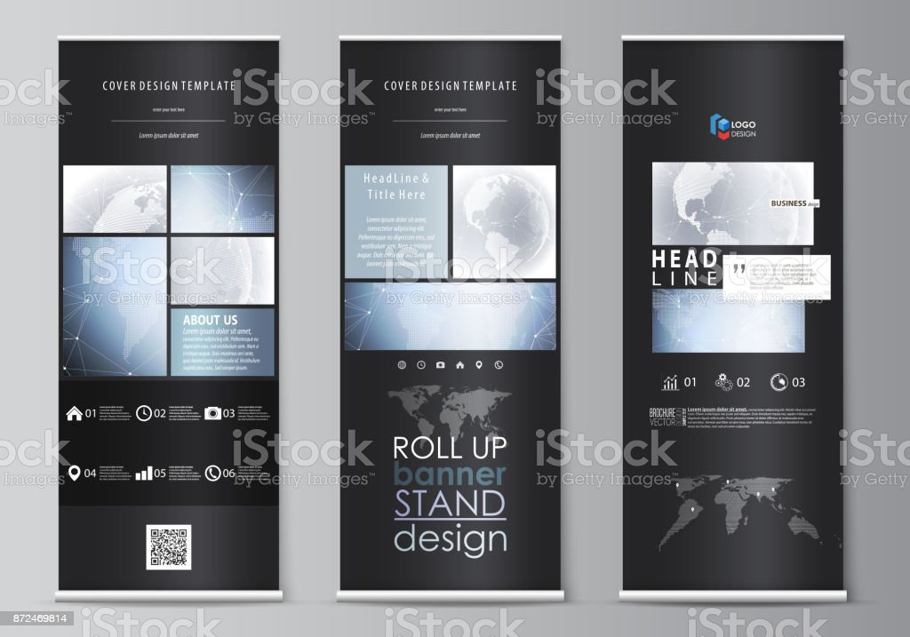 The black colored vector illustration of the editable layout of roll up banner stands, vertical flyers, flags design business templates. Abstract futuristic network shapes. High tech background - illustrazione arte vettoriale