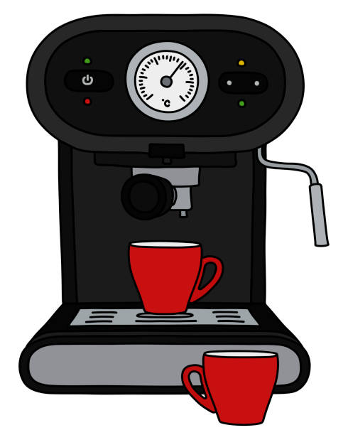 illustrazioni stock, clip art, cartoni animati e icone di tendenza di the black electric espresso maker - argento metallo caffettiera