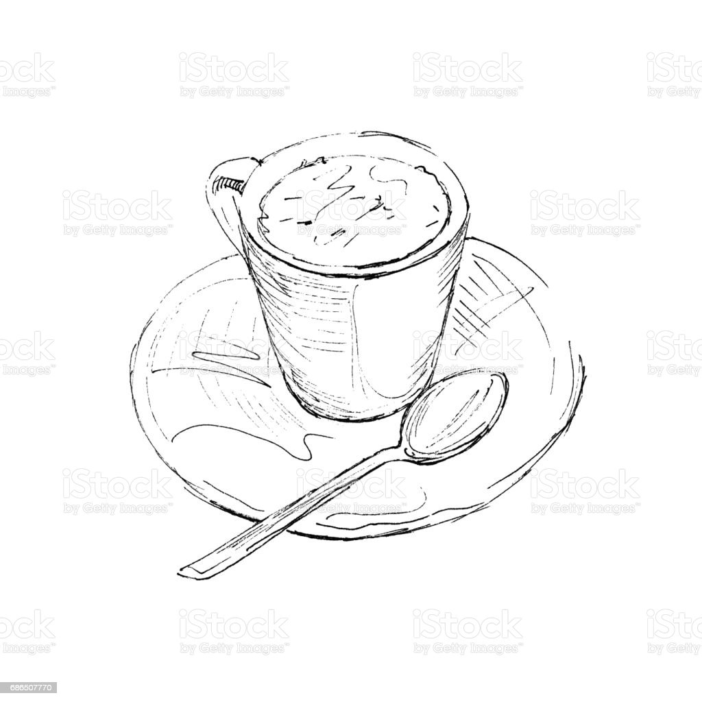 Coffee cup sketch - The Black Ink Drawing Of Coffee Cup Isolated On White Background Vector Illustration Hand