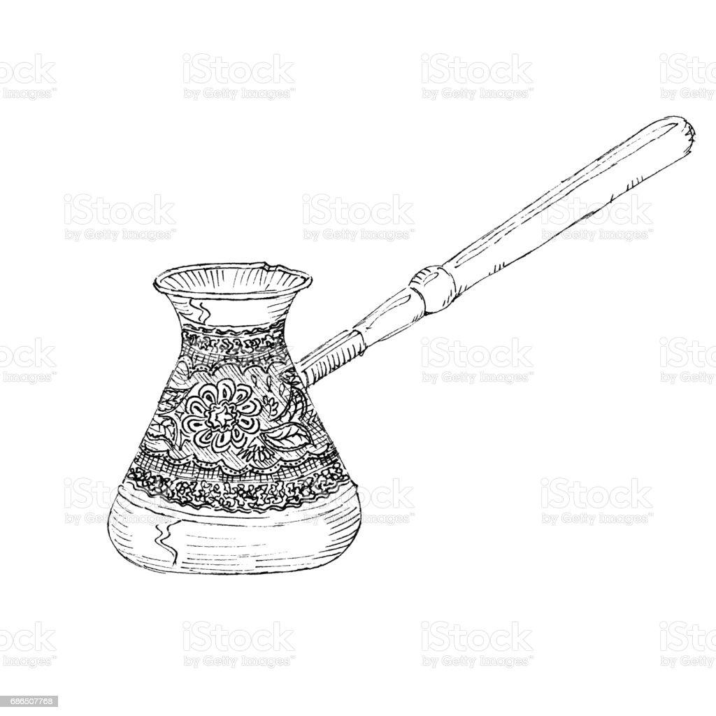 Türk Kahve Makinesi Beyaz Arka Plan Üzerinde Izole Çizim Siyah Mürekkep  Vektör Çizim Çizilmiş Kroki Tarzı Stok Vektör Sanatı & Arabica Kahve -  İçecek'nin Daha Fazla Görseli - iStock