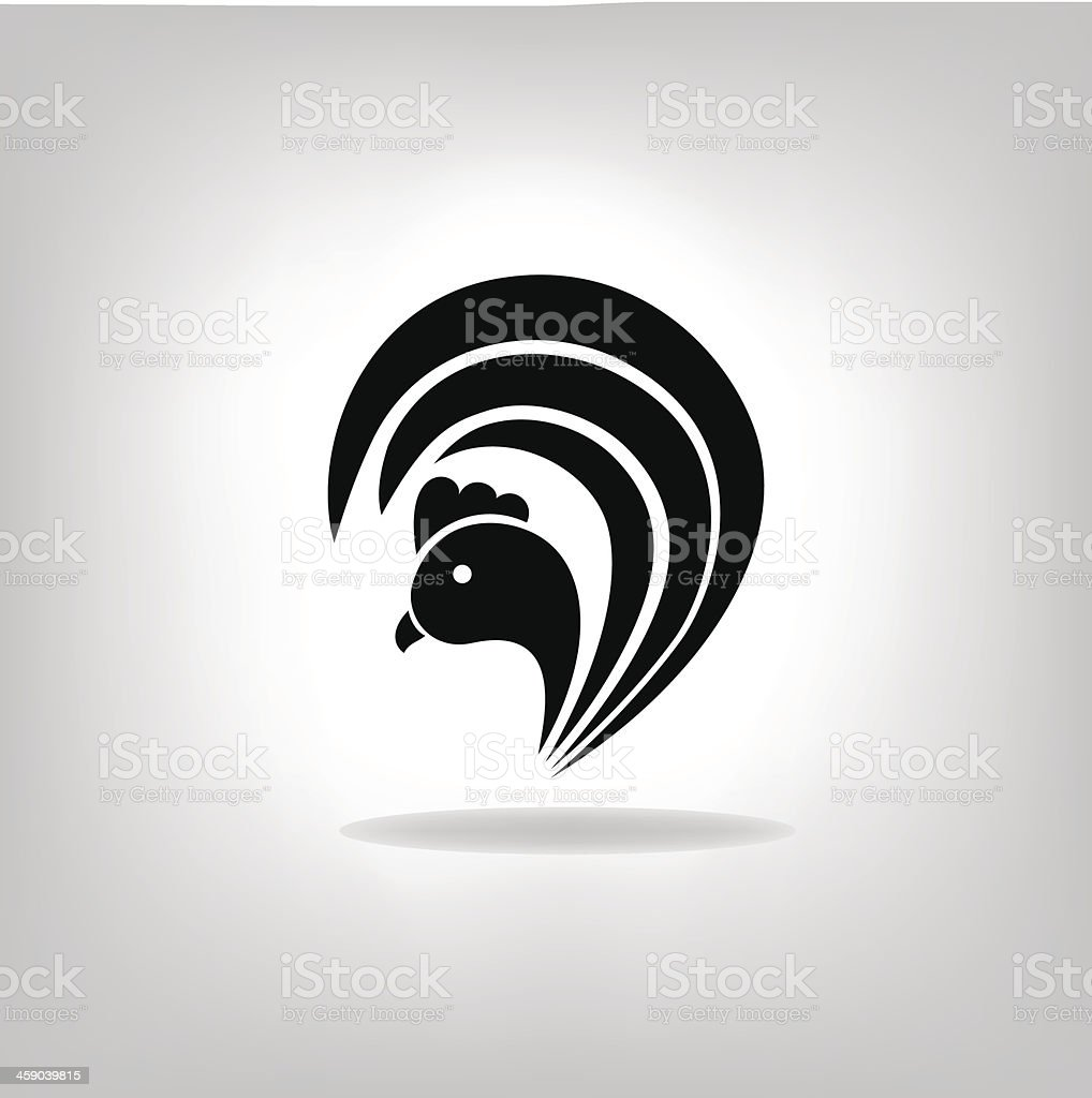 The black stylized cock vector art illustration