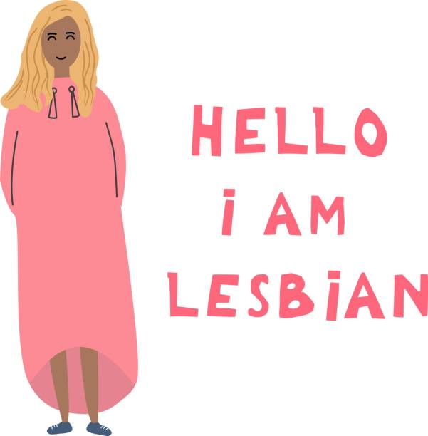 the black young woman costs near an inscription: hello, i'm  lesbian. open homosexuality. coming out. lgbt concept. minority sex. flat editable vector illustration. - minority stock illustrations, clip art, cartoons, & icons
