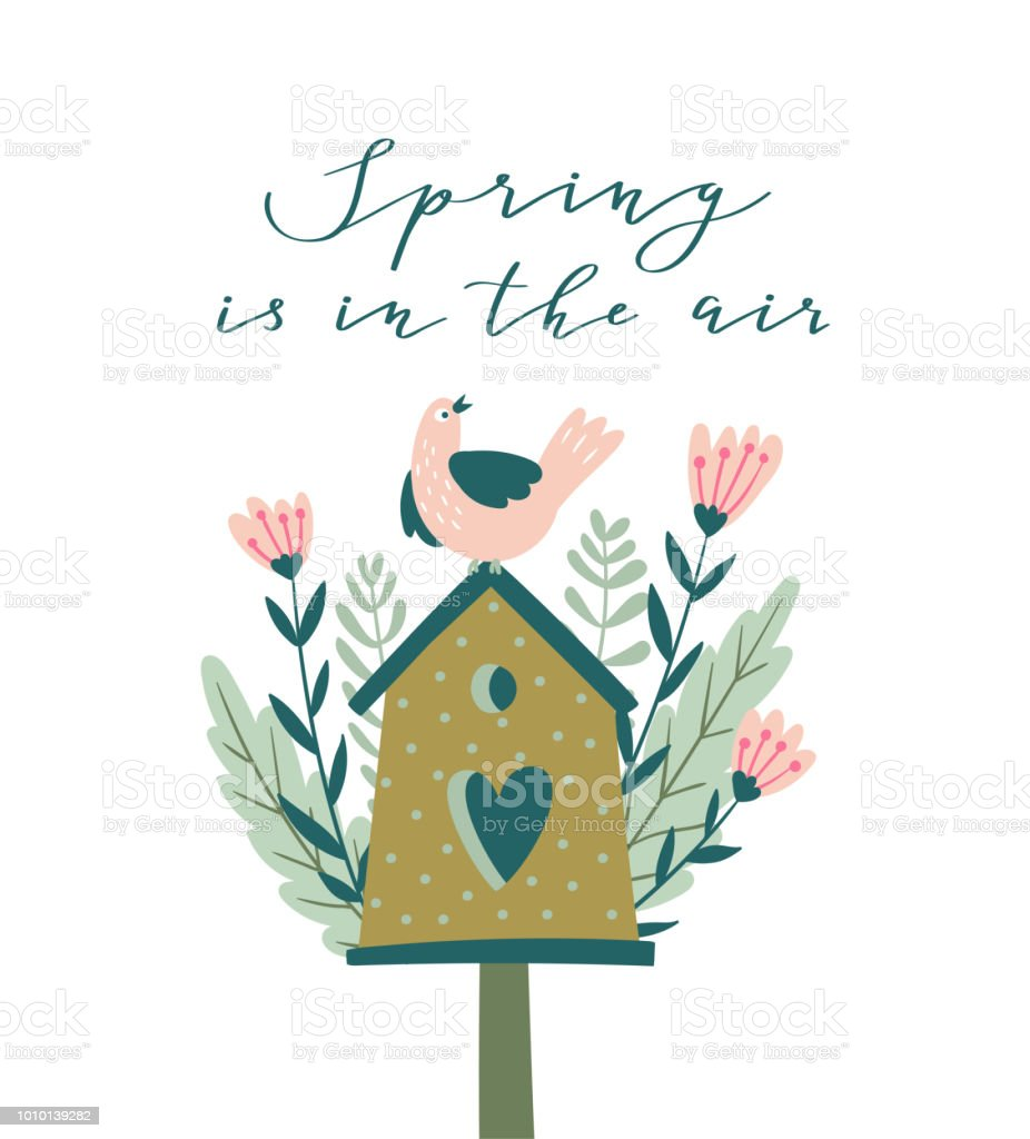 The Blossoming Nesting Box With Calligraphy Spring Is In The Air