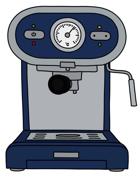 illustrazioni stock, clip art, cartoni animati e icone di tendenza di the blue electric espresso maker - argento metallo caffettiera