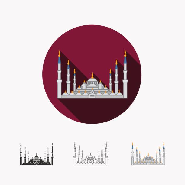 The Blue Mosque, Istanbul, Turkey vector art illustration