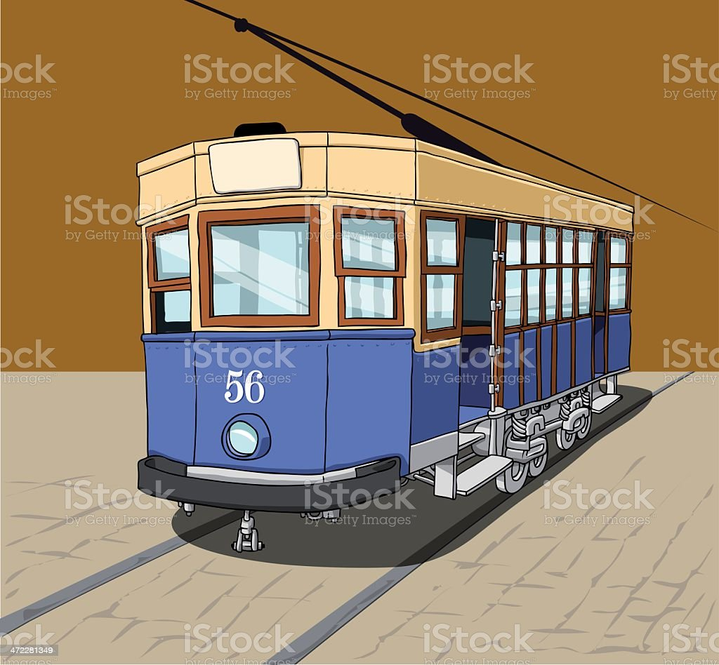 The blue tram royalty-free stock vector art
