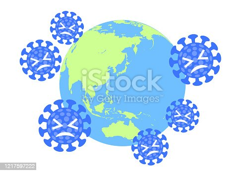 istock The blue virus that was fought off.and globe. 1217597222