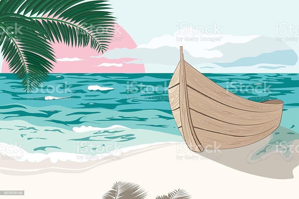 Le bateau se trouve sur le bord de la mer à l'été - Illustration vectorielle