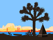 The boat on the river shore near the american Indian wigwam and Joshua tree. Vector illustration, mountains silhouette background