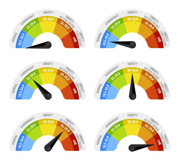 Der Body-mass-Index (BMI) oder Quetelet-Index ist ein Wert aus der Masse (Gewicht) und die Höhe des Individuums abgeleitet. Infografik-Saal – Vektorgrafik