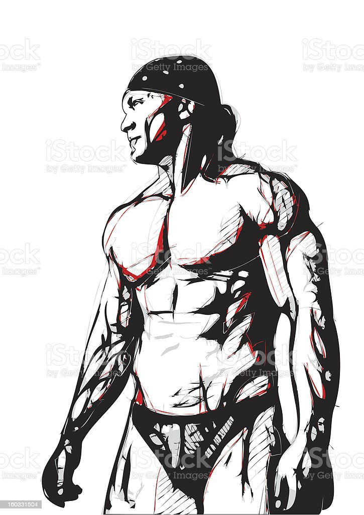 The Bodybuilder royalty-free stock vector art