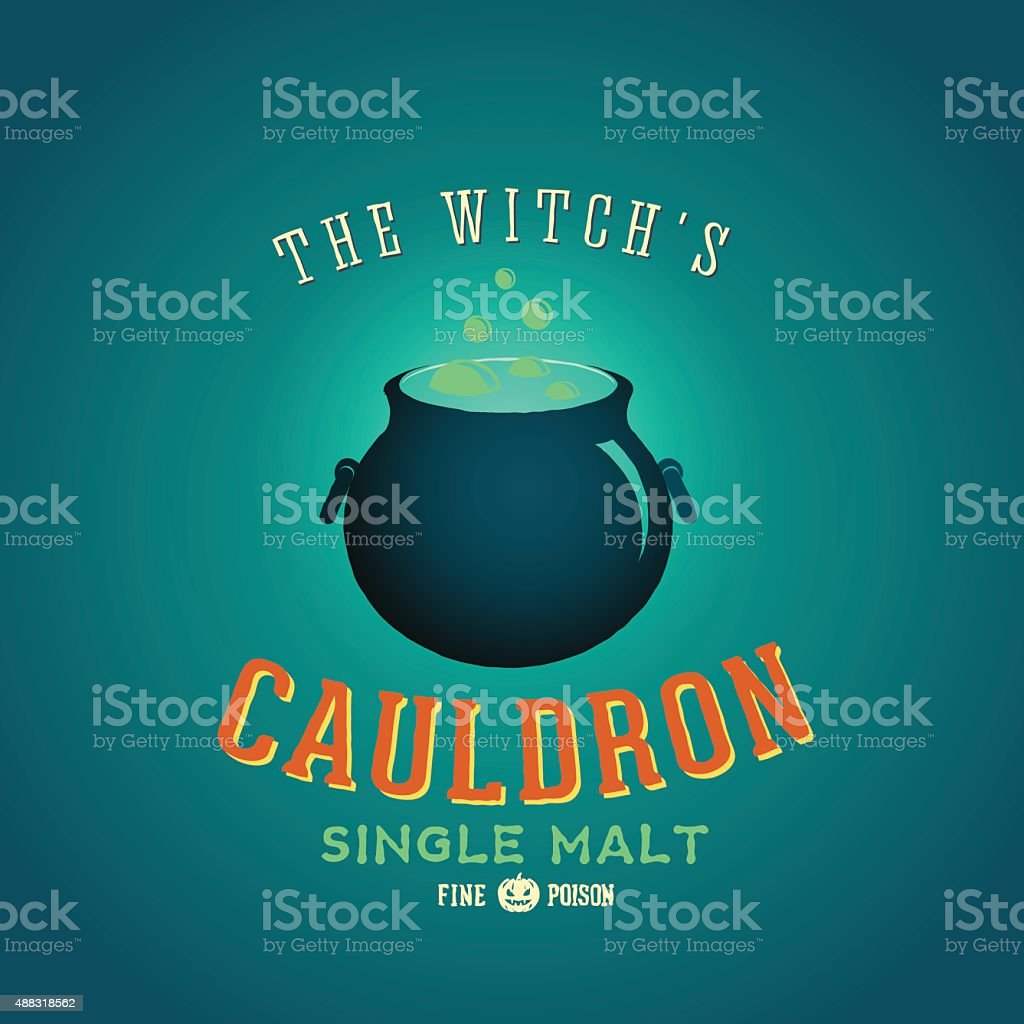 The Boiling and Glowing Witch Cauldron Vector Halloween Party Card vector art illustration