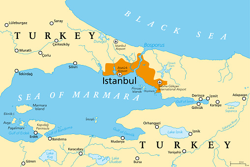 The Bosporus or Bosphorus, Strait of Istanbul, political map