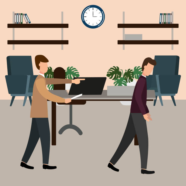 the boss screams at the subordinate in the office. vector illustration, flat design style. - old man crying cartoon stock illustrations, clip art, cartoons, & icons