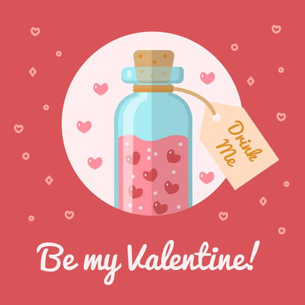 The bottle with the elixir of love The bottle with the elixir of love. Valentine s day card Be my Valentine. Flat design. Vector illustration. love potion stock illustrations