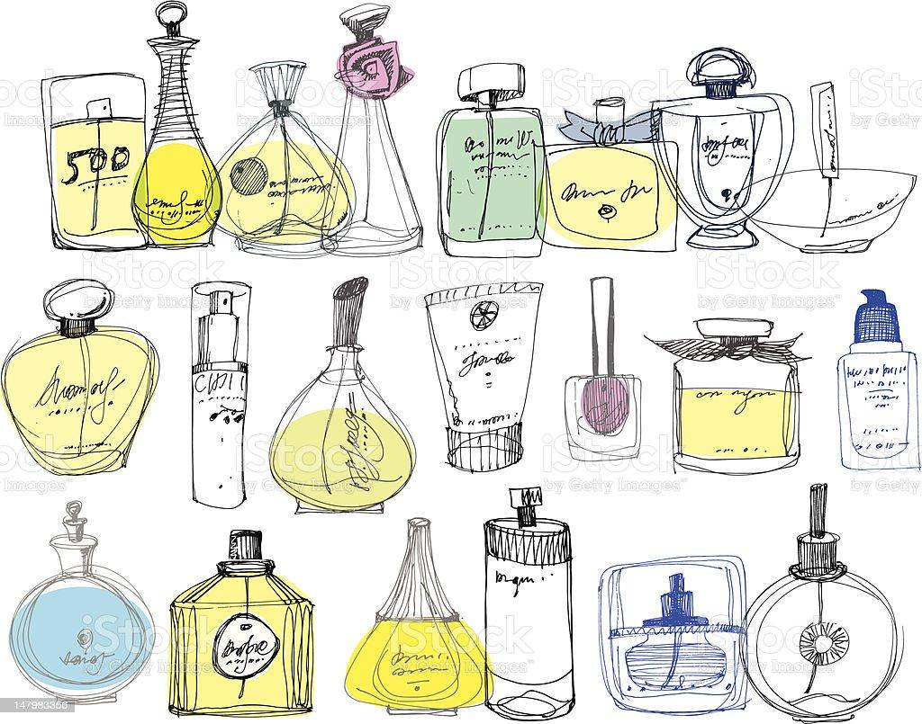 O frascos de perfume em um fundo branco. - ilustração de arte em vetor