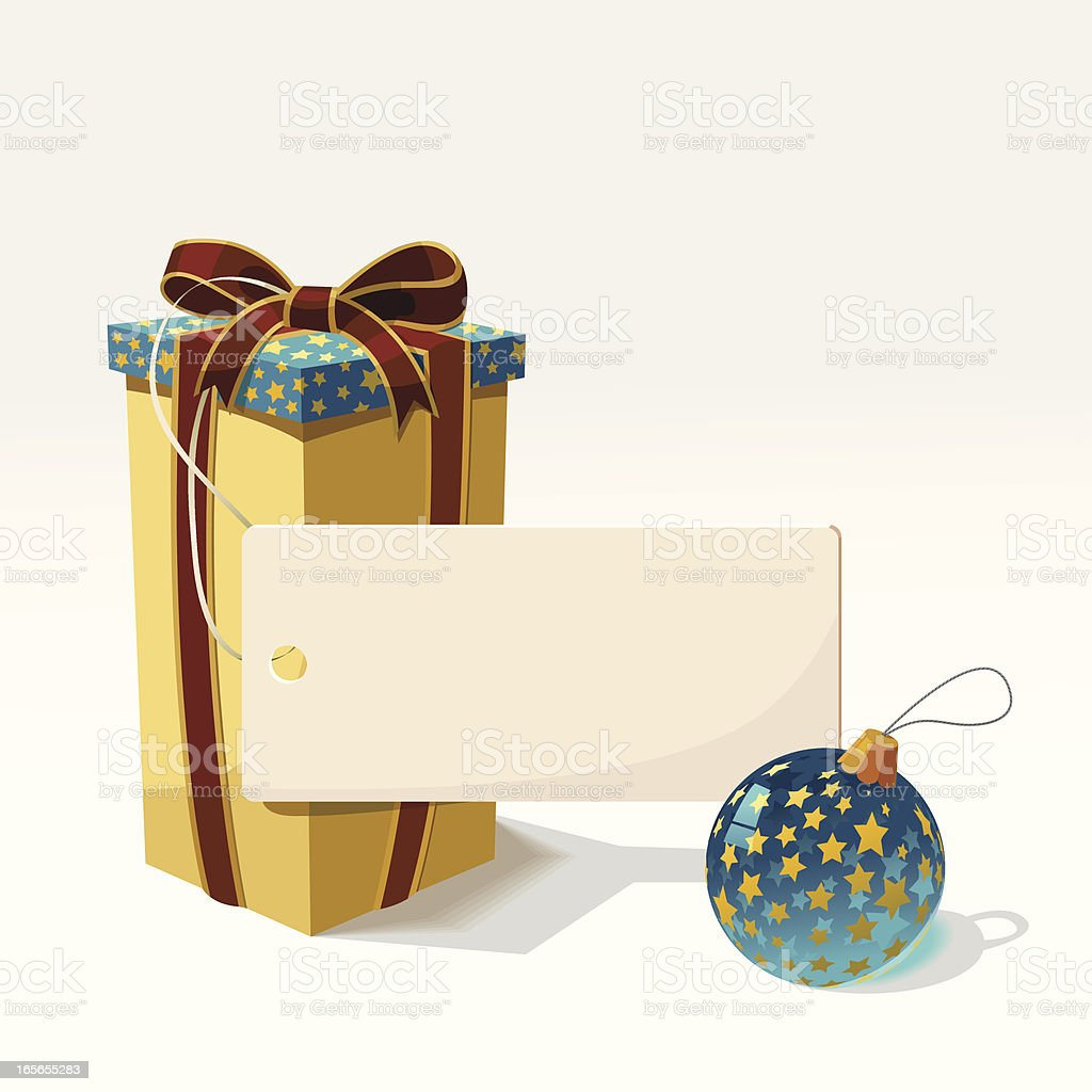 The Box with tag and ball. royalty-free stock vector art