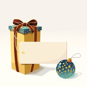 Christmas background with the box, gift tag and ball.