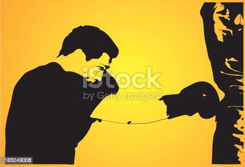 Boxer illustration - punching bag.