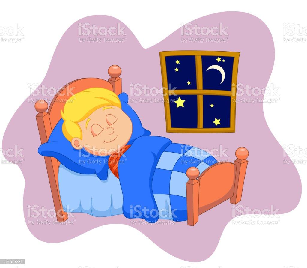 Der Junge Comic Einschlief Im Bett Stock Vektor Art Und Mehr Bilder