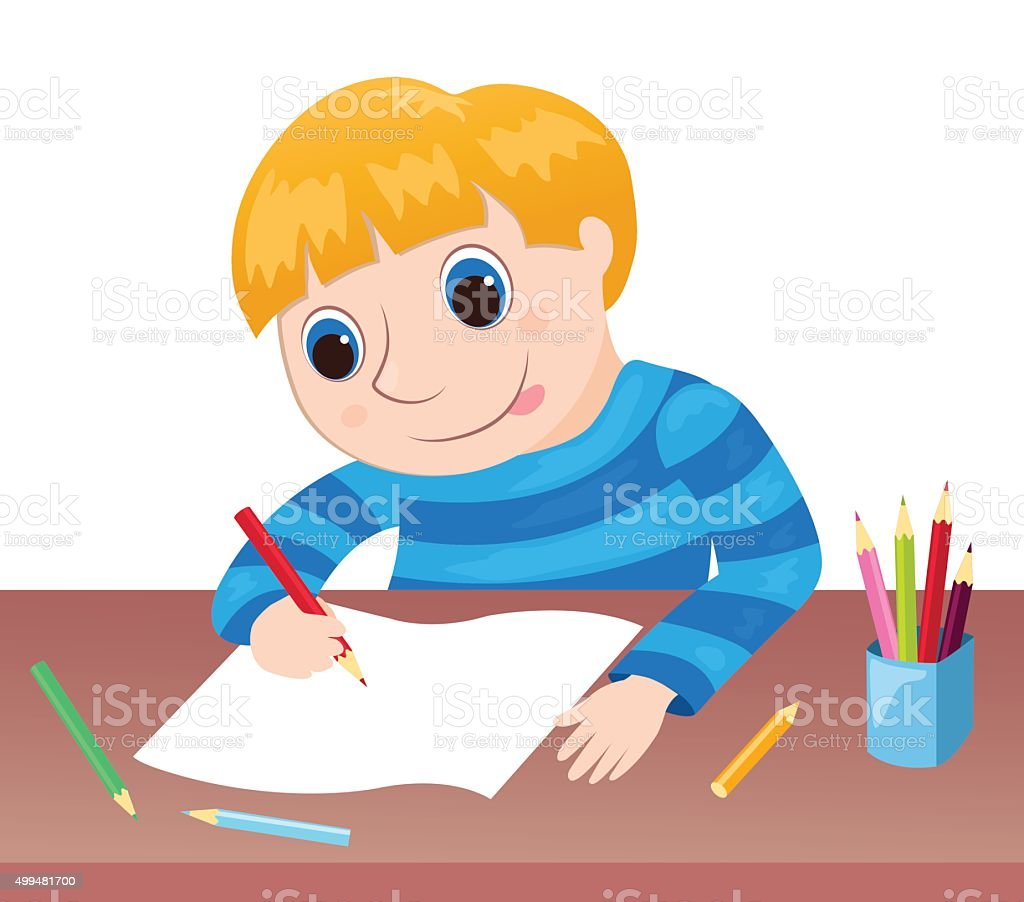 The boy draws at a table vector art illustration