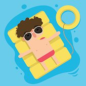 The boy floating on inflatable,summer vacation fun,illustration,vector