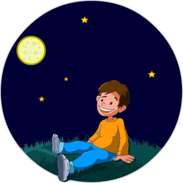 32 Boy Sitting Alone Night Cartoon Illustrations Clip Art Istock