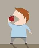 The boy is eating apple vector illustration