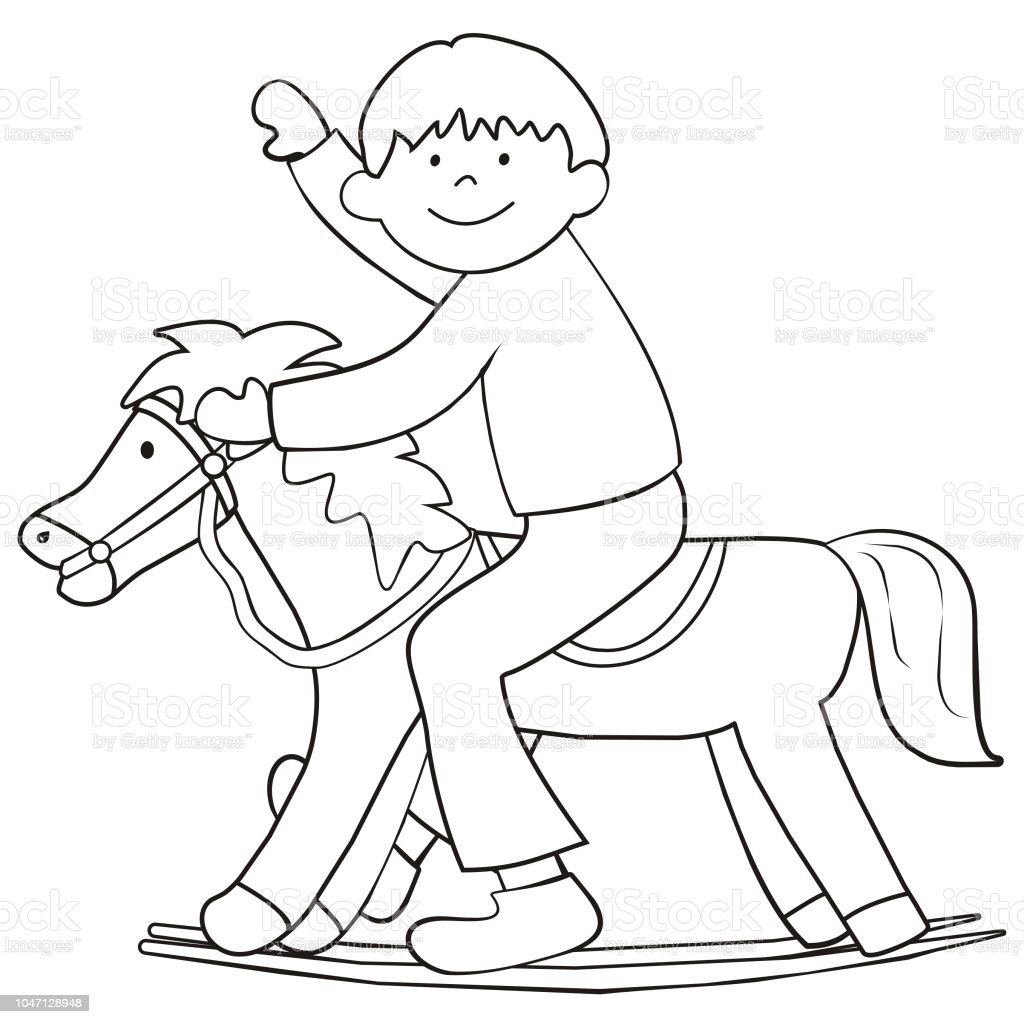 The Boy On A Rocking Horse Coloring Page Stock Vector Art & More ...