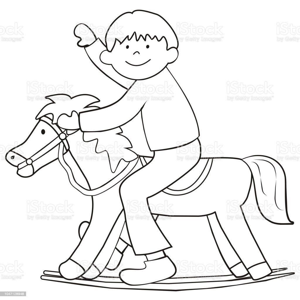 Sayfa Boyama çocuk Sallanan At üzerinde Stok Vektör Sanatı