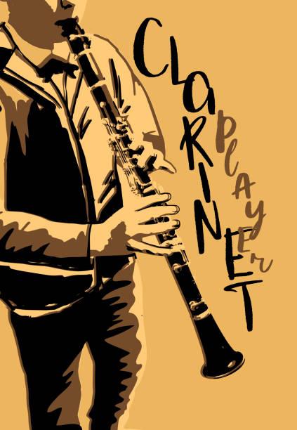 the boy playing clarinet poster - klarnet stock illustrations